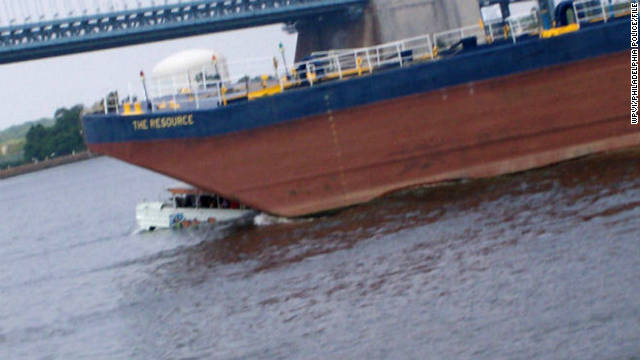 "A tugboat towing a barge crashed into a sightseeing ""duck boat"" on the Delaware River in July 2010, killing two tourists."