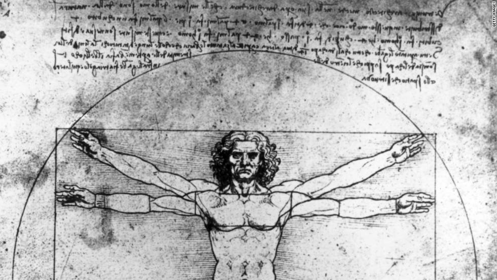 Da Vinci's world-renowned late 15th century drawing is considered a fine example of the Renaissance period's blend of art and science. It is based on the correlation of ideal human proportions and geometry described by ancient Roman architect Vitruvius.