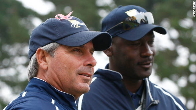 NBA legend Michael Jordan (right) served as Fred Couples' assistant for the 2009 tournament in California.