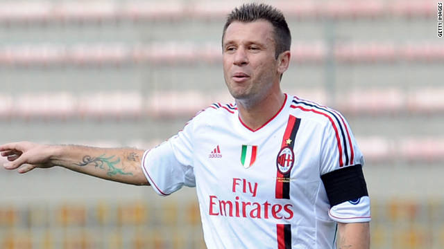 Italy striker Antonio Cassano joined AC Milan in January 2011 and has scored two Serie A goals so far this season.