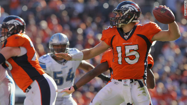 Quarterback Tim Tebow of the Denver Broncos delivers a pass against the Detroit Lions in October in Denver.