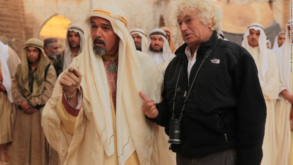 "Hollywood superstar Antonio Banderas and director Jean-Jacques Annaud on the set of ""Black Gold."""
