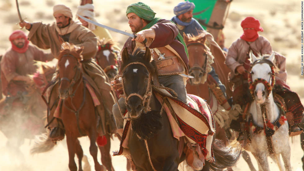 "Actor Tahar Rahim who plays protagonist Prince Auda is seen here filming a scene on horseback for ""Black Gold."""
