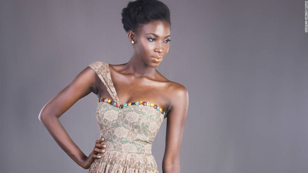A model poses in a dress from the Christie Brown, the label of Ghanaian designer, Aisha Obuobi.