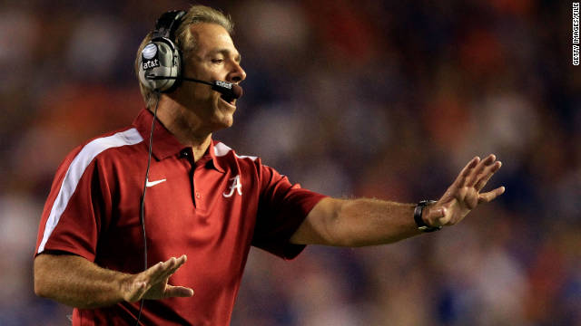 Alabama, led by coach Nick Saban, plays LSU in a matchup of college football's top two teams Saturday night.