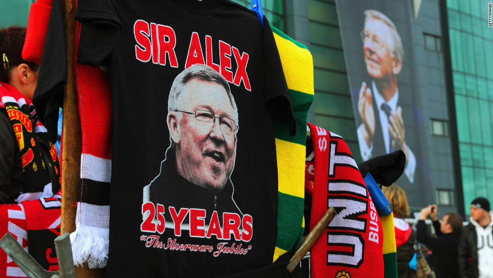 United fans commemorated Ferguson's achievements, which include 12 English titles and two European Champions League crowns since his arrival on November 6, 1986.