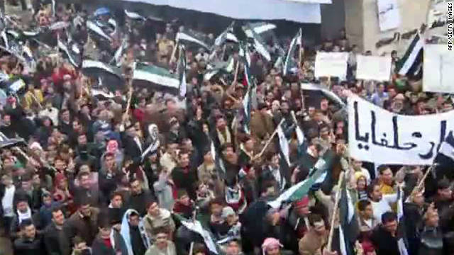 Image taken from video uploaded to YouTube purportedly shows anti-regime protesters at a rally in Hama, Syria, on November 4.