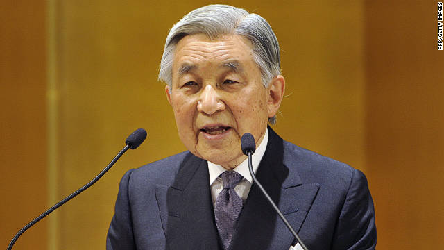 Japanese Emperor Akihito delivers a speech during the Japan Sports 100th anniversary ceremony in Tokyo on July 16, 2011.