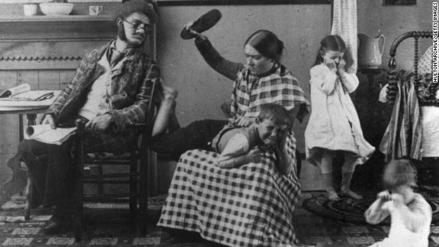A little boy is spanked by his mother with a shoe in 1891. Parents have different ideas about punishment in 2011.