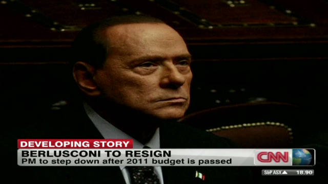 Berlusconi says 'I will resign'