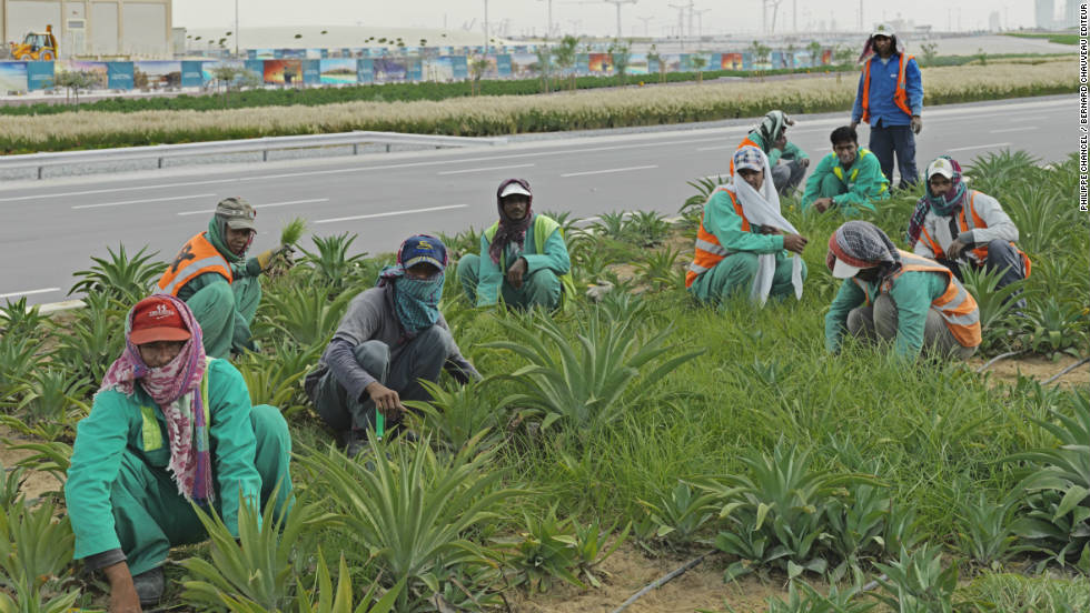 "Migrant workers in a ""green zone"" in the UAE. ""These workers have noone to speak for them, neither in painting, photography, literature nor cinema,"" writes Chancel."