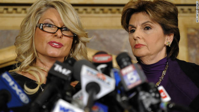 Sharon Bialek, left, goes public with sexual harassment allegations against Herman Cain as her lawyer Gloria Allred stands by.