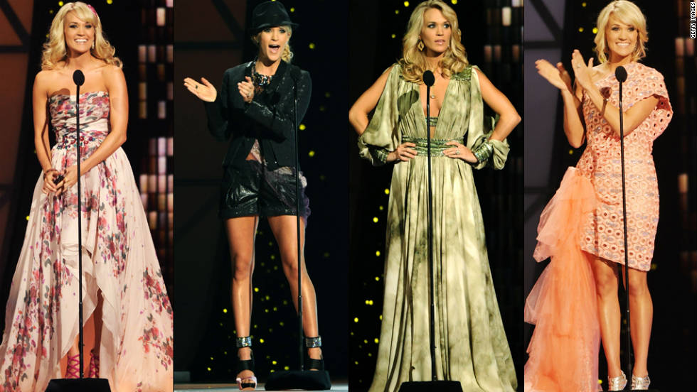 Carrie Underwood's costume changes throughout the night were as frequent as her and co-host's one-liners.