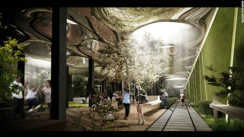 "An artist's impression of ""Delancey Underground,"" a project that aims to turn an abandoned New York underground carriage terminal into a fully functioning subterranean community park. Still very much in the proposal stages, we ask you to tell us if the plans are science fiction or high-tech future."