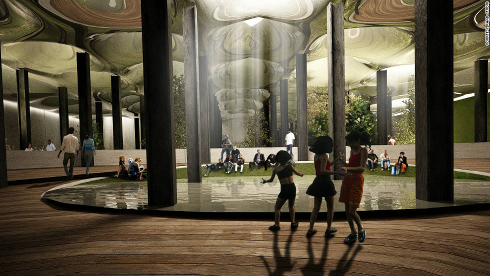"In theory, natural light would stream into the underground park via a series of ""remote skylights"" -- capable of transporting sunrays from the street underground, shown here in another digital imagining of the park."