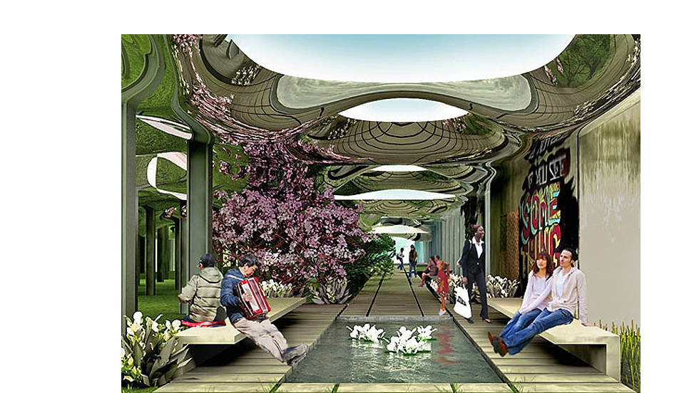 A digital image of the proposed park shows ponds, colorful foliage, ambling walkways and park benches, if ever built, the Delancey Underground park would be an open community space and tourist attraction.