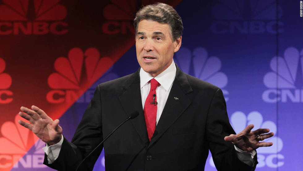 "Republican hopeful Rick Perry became the first candidate in history to say ""oops"" during a debate after forgetting the name of the third government agency he'd pledged to cut."