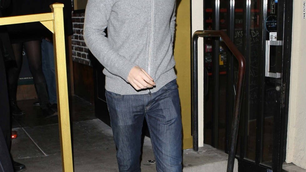 Topher Grace leaves a restaurant in Los Angeles.