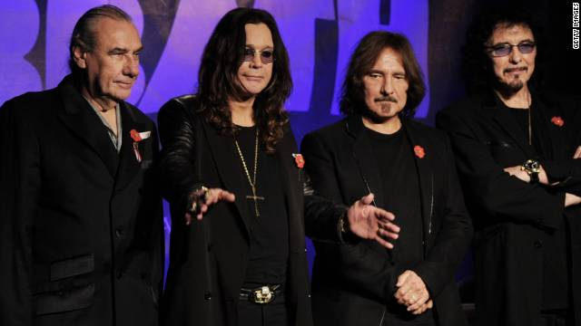 Bill Ward, (L) Ozzy Osbourne, Geezer Butler and Tony Iommi (R) of Black Sabbath, shown here in 2011.