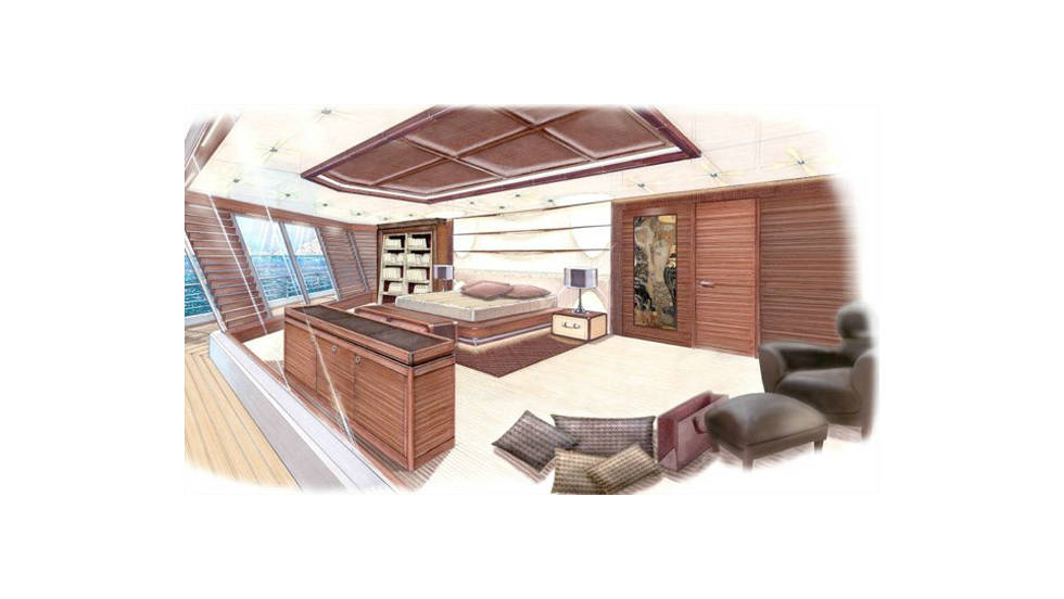 The owner's apartment spreads across three decks, with guests housed on their  own level.
