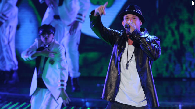 "Chris Rene peforms on ""The X Factor."""