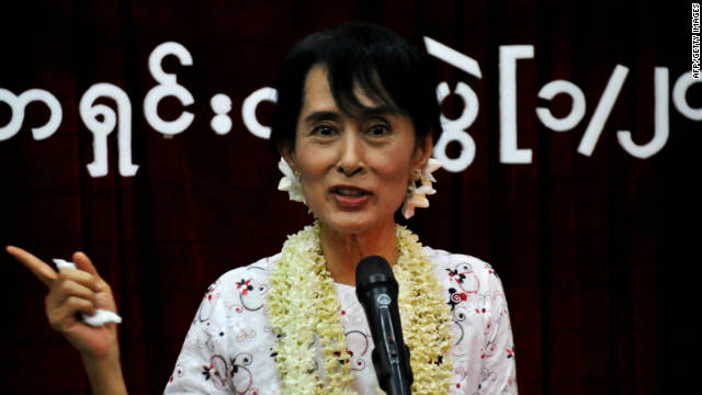 Aung San Suu Kyi talks at press conference on the anniversary of her release in Yangon, Myanmar on November 14.