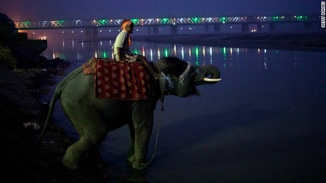 A man sits on his elephant as it drinks water from the Ganges river during the Sonepur Mela -- cattle fair -- in India on November 14.