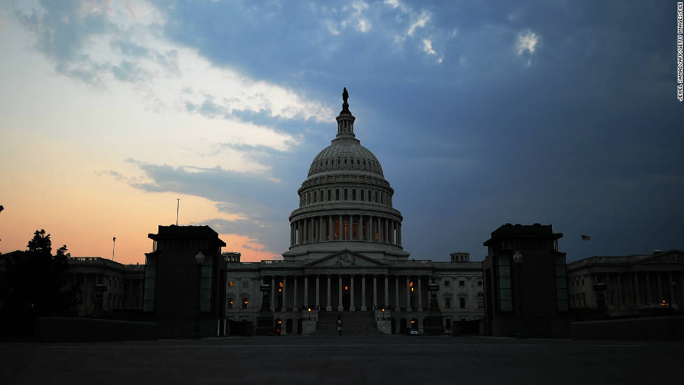 The Capitol building is pictured at dusk in Washington, DC, on July 29, 2011.