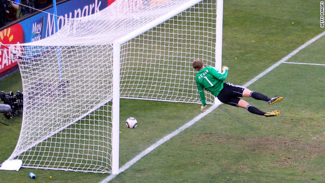 England were aggrieved after this shot from Frank Lampard against Germany in the 2010 World Cup was not awarded