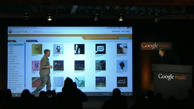 Google executives announce the Google Music store and locker at a news conference in Los Angeles.