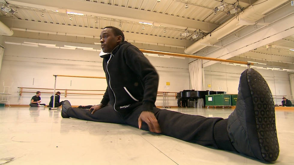 Warming up at in the training room of The Washington Ballet. Ndlovu says he works out with his dance colleagues from 9am until 6pm every day before staying on an extra hour or two to work by himself.