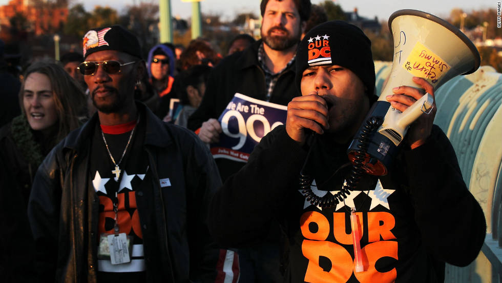 "Members of Our DC and Occupy DC take part in the nationwide ""day of action."""