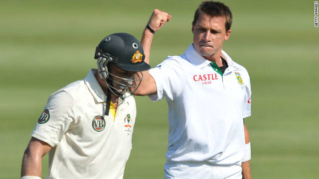 South African Dale Steyn celebrates taking the wicket of Michael Hussey in Australia's first innings.