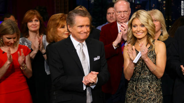 Regis Philbin and Kelly Ripa on set during Regis Philbin's Final Show of 'Live! with Regis & Kelly' on November 18, 2011 in New York