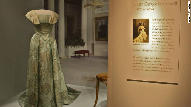 Edith Carow Roosevelt's dress. Videos and pictures of the first ladies wearing the gowns accompany the display.
