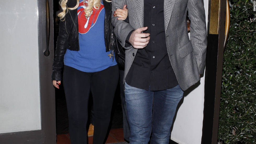 Christina Aguilera and her boyfriend Matt Rutler leave a restaurant in Los Angeles.