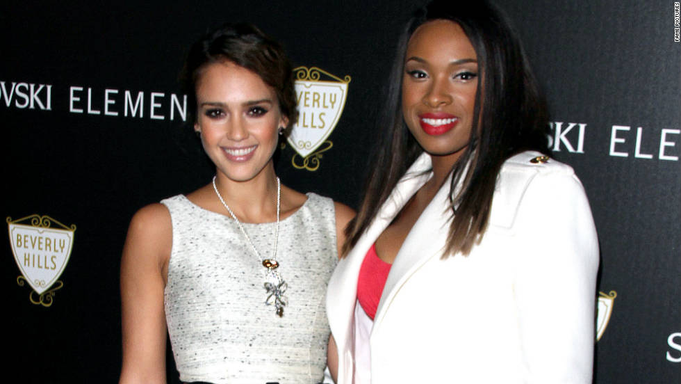 Jessica Alba and Jennifer Hudson attend a lighting ceremony in Beverly Hills.