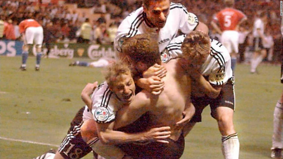 Germany had only conceded two goals in five games en route to the Euro 1996 final against the Czech Republic, but the Czechs looked on course to repeat their final victory over Germany from 20 years earlier when Patrik Berger scored from the penalty spot. However, Oliver Bierhoff equalized with 15 minutes left and the same player then scored the winner early in extra time, the first time a major tournament had been decided by a golden goal.