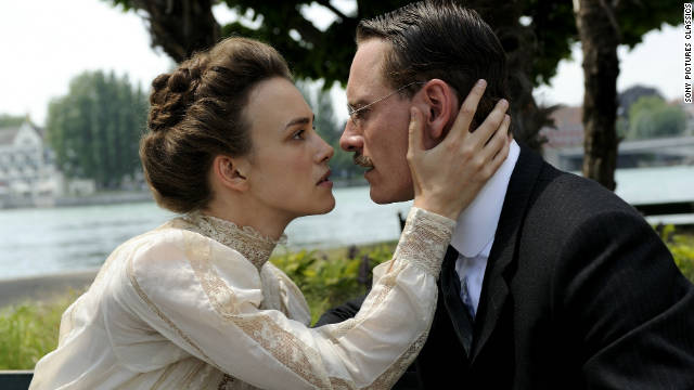 Sabina Spielrein (Keira Knightley) is amazed at the effect Carl Jung's (Michael Fassbender) treatment has on her behavior.