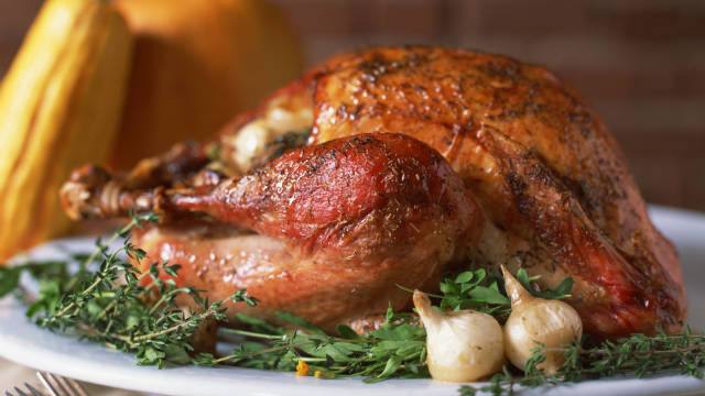 A traditional thanksgiving dish, roasted turkey.