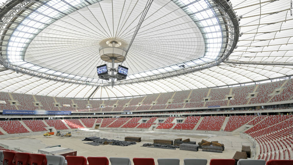 The National Stadium in the Polish capital of Warsaw has a capacity of over 58,000 and will play host to a semifinal, a quarterfinal and Group A matches.  Euro 2012 will kick-off at the newly-built arena on June 8.