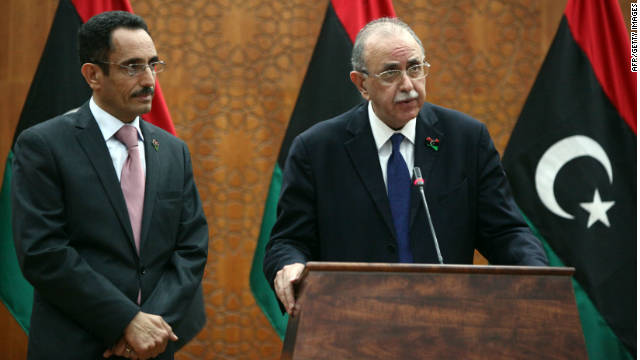Libya's interim prime minister Abdel Rahim al-Kib announces his new cabinet line-up on November 22, 2011.