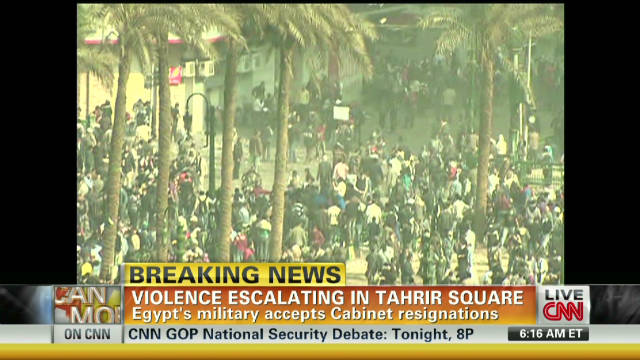 Violence escalating in Tahrir Square