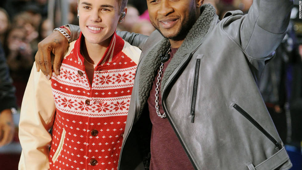 "Justin Bieber and Usher perform on the ""Today"" show in New York City."