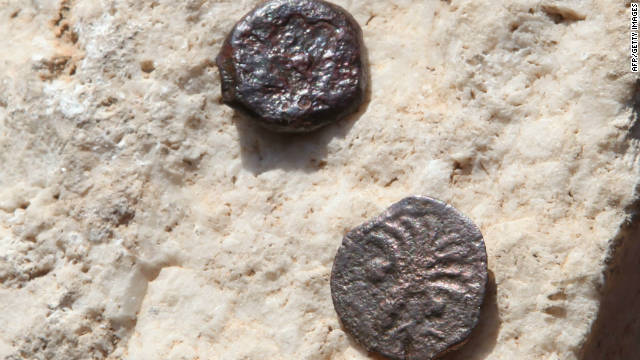 These bronze coins, found in a ritual bath beneath the Western Wall, are dated A.D. 16.