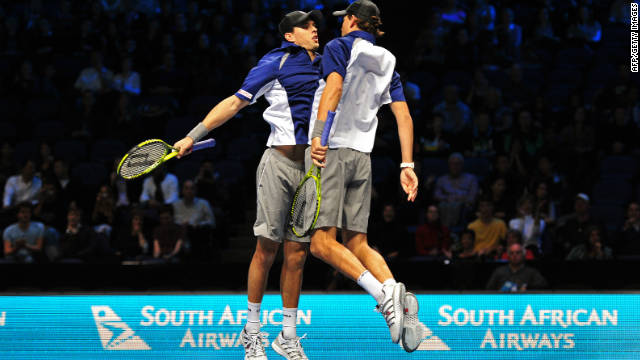 Mike and Bob Bryan celebrate a victory at the ATP World Tour Finals in London last month with their trademark chest bump.