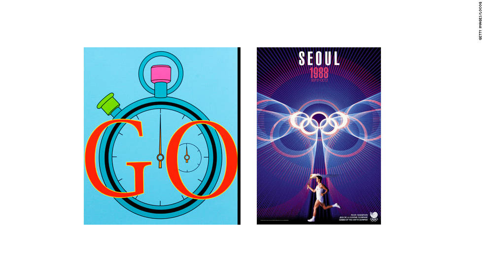 Irish artist Michael Craig-Martin created the poster on the left, next to the one used for the Seoul Games in 1988.