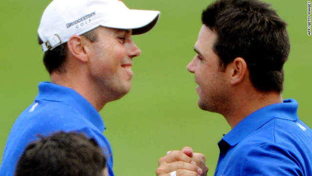 Matt Kuchar (left) and Gary Woodland celebrate their victory in the World Cup at Mission Hills.