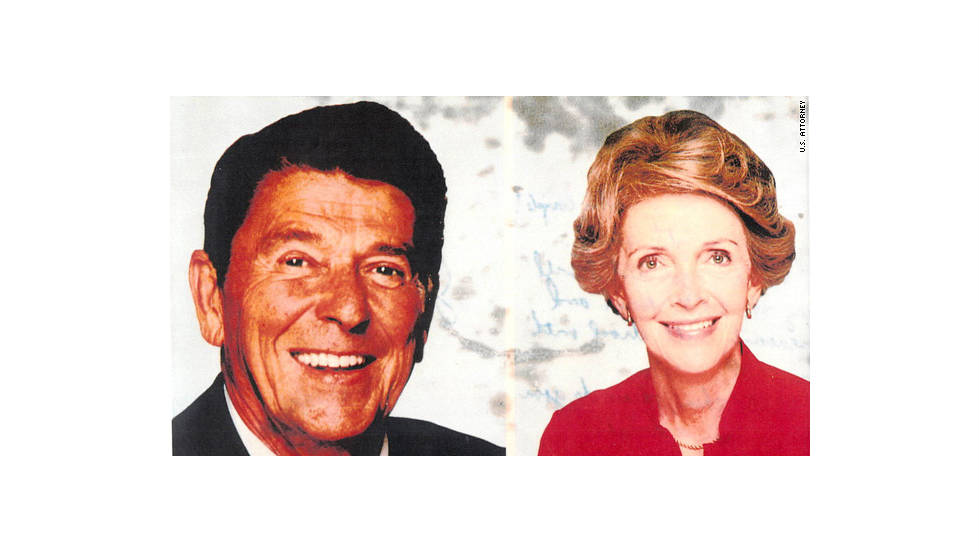 Prosecutors said Hinckley wrote a note to Foster on the back of this postcard which featured the president and first lady Nancy Reagan. Click on the next frame to read Hinckley's note to Foster.