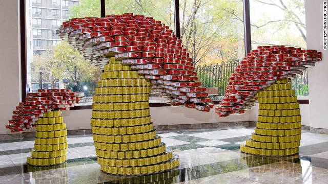 Canstruction design teams build sculptures out of canned foods, which are later donated to local food banks.